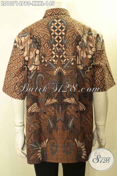 Juragan Batik Online, Sedia Kemeja Batik Solo Halus Lengan Pendek Proses Printing Cabut Motif Klasik, Bisa Untuk Santai Dan Resmi, Size XXXL