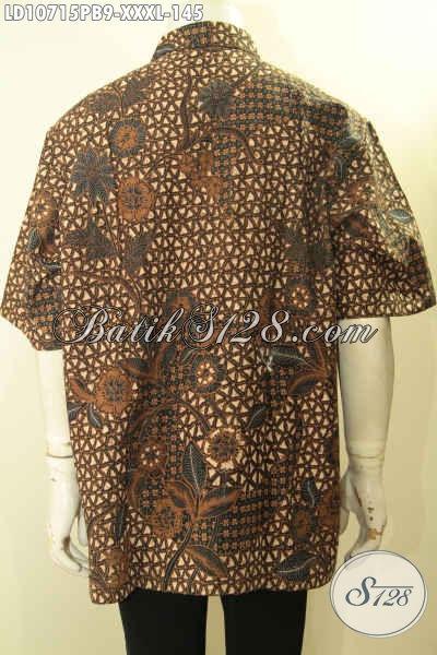 Jual Online Batik Hem Lengan Pendek Solo Nan Istimewa, Pakaian Batik Masa Kini Untuk Tampil Gagah Mempesona Spesial Untuk Pria Gemuk, Size XXL