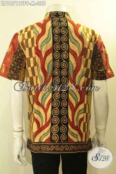 Batik Hem Pria Lengan Pendek Halus Mewah Motif Klasik Tulis, Busana Batik Yang Membuat Lelaki Muda Terlihat Menawan, Size M