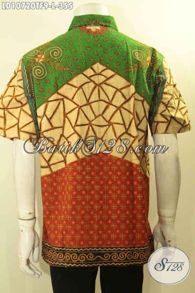 Pusat Baju Batik Premium Online, Sedia Kemeja Lengan Pendek Halus Full Furing Elegan Berkelas Bahan Adem Motif Sinaran Proses Tulis 300 Ribuan Saja, Size L