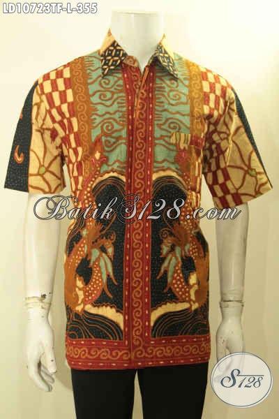 Produk Batik Koleksi 2018, Kemeja Batik Pria Istimewa Model Lengan Pendek Motif Sinaran Tulis, Pas Untuk Kerja Dan Acara Resmi [LD10723TF-L]