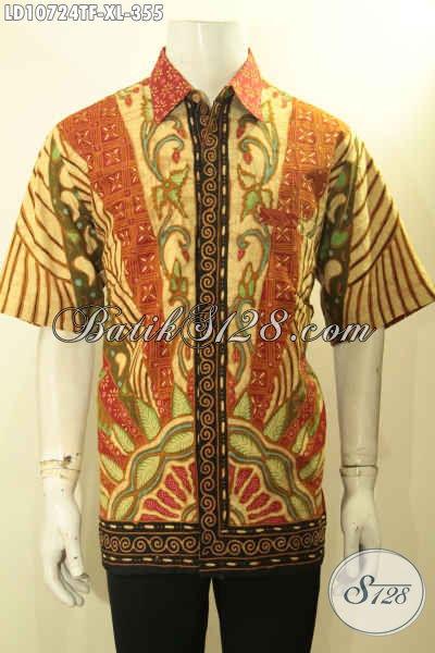 Batik Hem Solo Lengan Pendek Motif Sinaran, Baju Batik Tulis Kwalitas Premium Full Furing Yang Membuat Penampilan Lebih Berkelas, Size XL