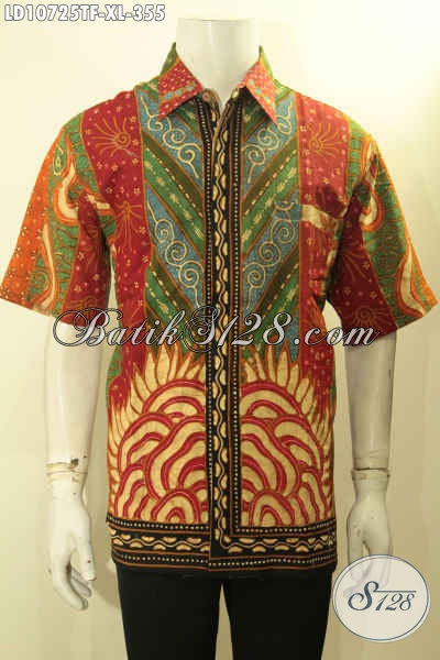Jual Online Batik Keren Jawa Tengah, Sedia Kemeja Batik Mewah Tulis Motif Sinaran Lengan Pendek Full Furing Hanya 300 Ribuan, Size XL