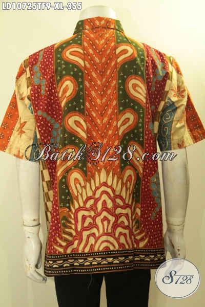 Batik Kemeja Elegan Motif Sinaran, Baju Batik Tulis Istimewa Daleman Full Furing Model Lengan Pendek, Pas Buat Acara Resmi [LD10725TF-XL]