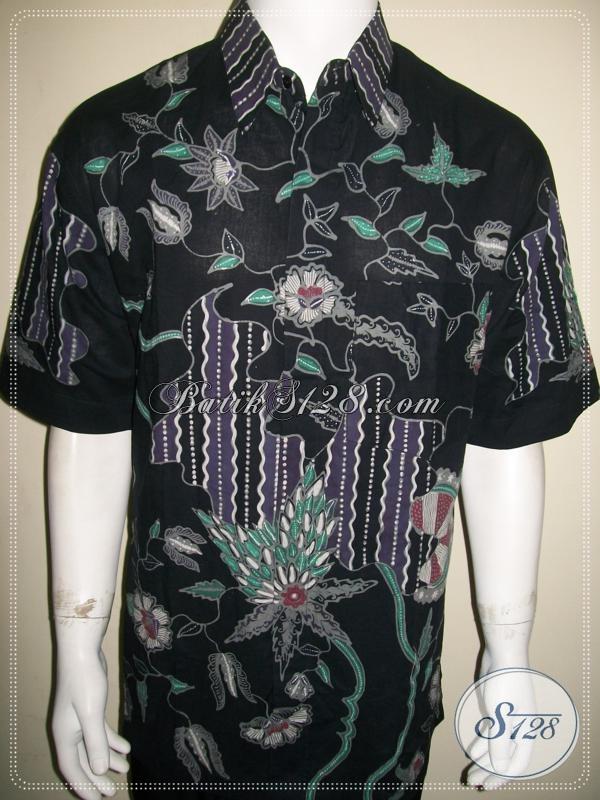 Baju Batik Pria Modern Terbaru Untuk Kerja Dan Kondangan Lengan Pendek [LD1073T-XL]