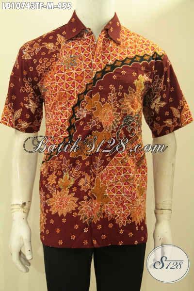 Model Baju Batik Pria Elegan, Busana Batik Lengan Pendek Eksklusif Bahan Halus Proses Tulis, Pakaian Batik Premium Mahal Full Furing, Pria Tampil Makin Percaya Diri [LD10743TF-M]