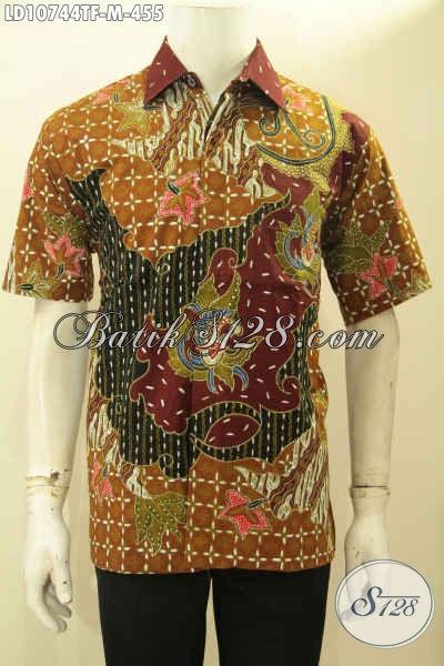 Busana Batik Lengan Pendek Halus Full Furing Bahan Adem Motif Elegan Proses Tulis, Pas Untuk Ngantor Dan Acara Resmi, Size M