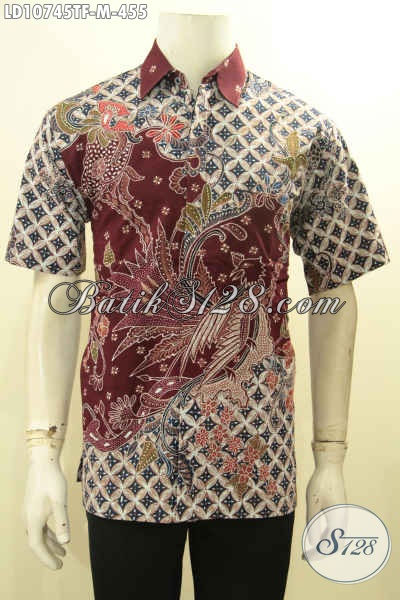 Hem Batik Pria Lengan Pendek Full Furing Untuk Seragam Kerja, Pakaian Batik ELegan Nan Istimewa Motif Tulis Khas Jawa Tengah Harga 455K, Size M
