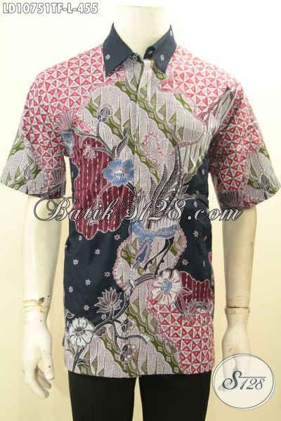 Model Baju Batik Kerja Kantoran Untuk Pria Size L, Hem Batik Premium Mahal Lengan Pendek Motif Bagus Proses Tulis, Penampilan Lebih Tampan Maksimal [LD10751TF-L]