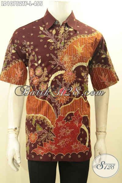 Model Baju Kemeja Batik Pria Lengan Pendek Premium, Hem Batik Solo Halus Full Furing Motif Mewah Proses Tulis, Eksklusif Buat Ngantor Dan Acara Resmi [LD10752TF-L]