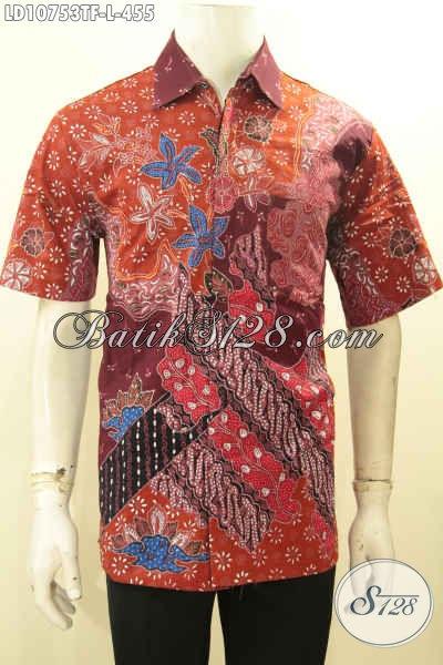 Pakaian Batik Pria Lengan Pendek Solo Terbaru, Kemeja Batik Full Furing Motif Terkini Proses Tulis, Pas Untuk Acara Resmi Dan Kondangan, Size L
