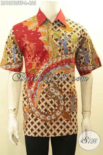 Model Baju Batik Kerja Pria Size L, Hem Batik Bagus Lengan Pendek Motif Elegan Mewah Proses Tulis Daleman Full Furing Harga 455K
