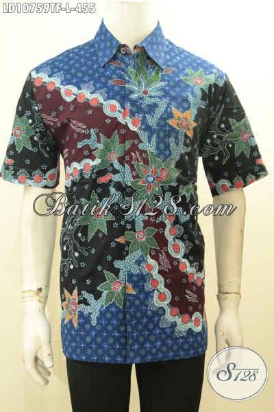 Pakaian Batik Elegan Mewah, Hem Batik Lengan Pendek Premium, Busana Batik Solo Halus Full Furing Bahan Adem Proses Tulis Motif Bagus, Penampilan Lebih Mempesona, Size L