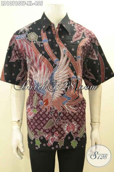 Hem Batik Model Terbaru Motif Bagus Proses Tulis, Kemeja Batik Solo Elegan Lengan Pendek Motif Kekinian Daleman Pake Furing, Bikin Pria Terlihat Berkelas, Size XL