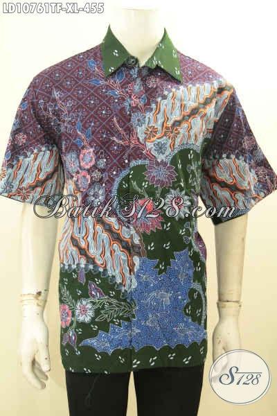 Produk Pakaian Batik Solo Mewah Mahal, Hem Batik Premium Full Furing Size XL Motif Bagus Proses Tulis, Eksklusif Untuk Pria Karir Sukses [LD10761TF-XL]