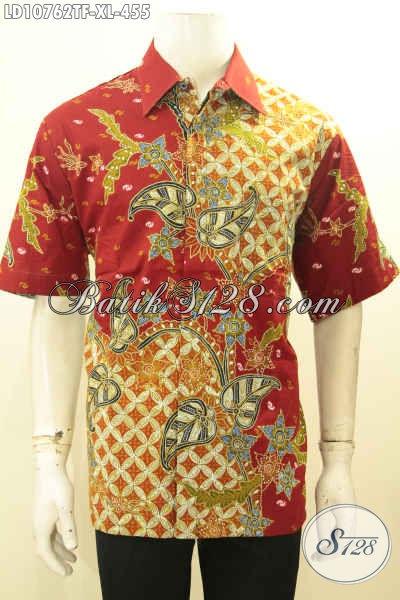 Jual Online Baju Batik Warna Merah Motif Mewah Proses Tulis, Kemeja Batik Solo Terbaru Daleman Full Furing Bahan Adem, Bisa Untuk Santai Dan Resmi, Size XL