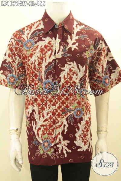 Baju Kemeja Batik Untuk Kerja Pria Dewasa, Hem Batik Solo Lengan Pendek Full Furing Bahan Adem Motif Terbaru, Menunjang Penampilan Lebih Berkelas Dan Mewah