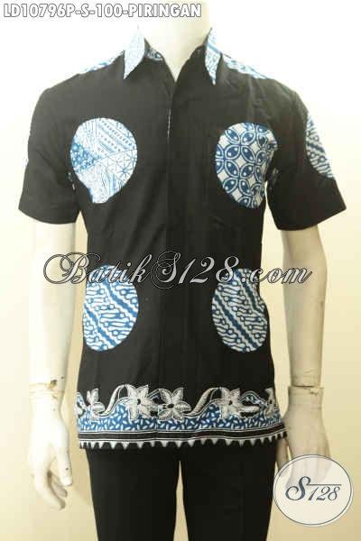 Model Baju Batik Modis Pria Lengan Pendek Motif Piringan, Kemeja Batik Halus Dasar Hitam Pas Banget Buat Gaul Hanya 100K [LD10796P-S]