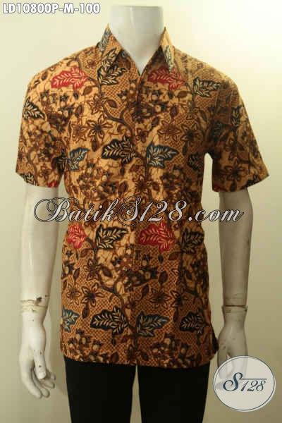Hem Batik Printing Motif Bagus Bahan Adem Lengan Pendek, Pakaian Batik Kerja Pria Muda Size M Harga 100 Ribu Saja [LD10800P-M]