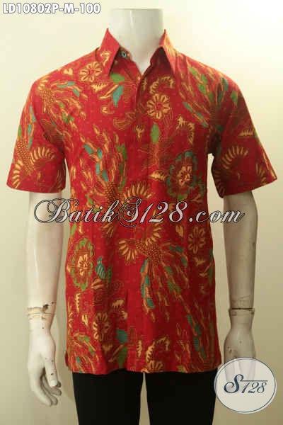 Model Baju Batik Lengan Pendek Pria Muda Untuk Penampilan Gagah Mempesona, Pakaian Batik Solo Berkelas Proses Printing Bahan Adem Motif Bagus Harga 100 Ribu Saja [LD10802P-M]