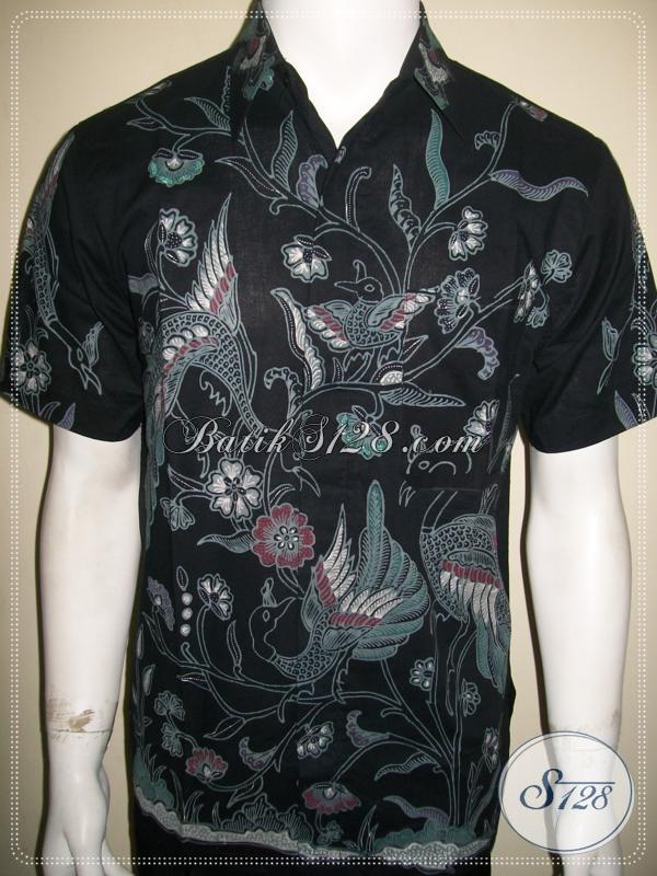 Pakaian Batik Pria Motif Burung Warna Hitam Elegan [LD1086T-M]