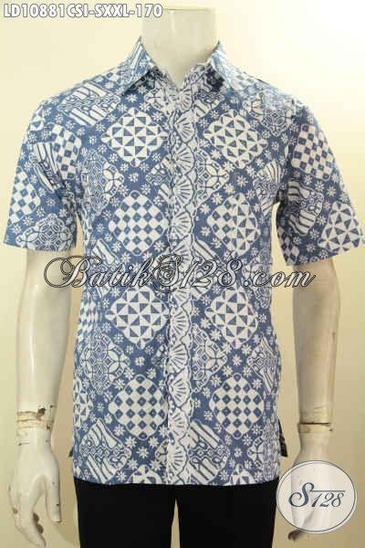 Model Batik Hem Pria Lengan Pendek Motif Bagus Proses Cap, Busana Batik Kerja Dan Santai Yang Membuat Penampilan Makin Tampan, Size S