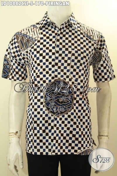 Hem Batik Keren Pria Ukuran S Motif Piringan, Busana Batik Trendy Proses Cap Yang Cocok Untuk Santai Dan Resmi Tampil Terlihat Macho