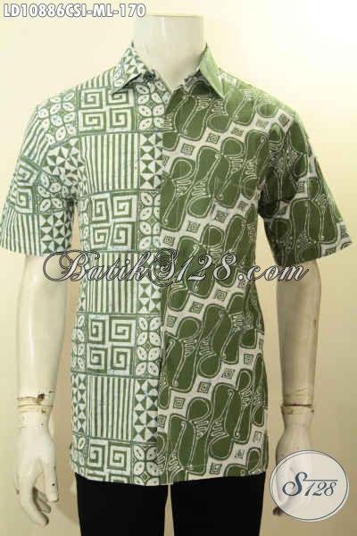 Aneka Baju Batik Kerja Nan Modis, Hadir Dengan Motif Keren Berpadu Warna Hijau Nan Trendy, Pakaian Batik Pria Untuk Penampilan Gagah Mempesona, Size M – L