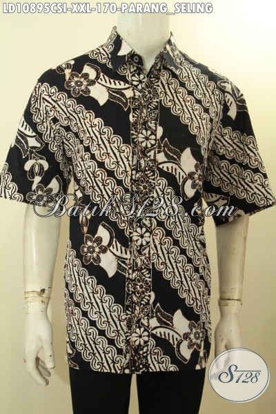 Hem Batik Halus Motif Klasik Parang Seli Spesial Untuk Lelaki Gemuk, Kemeja Batik Solo Proses Cap Big Size, Pas Banget Untuk Acara Resmi, Size XXL