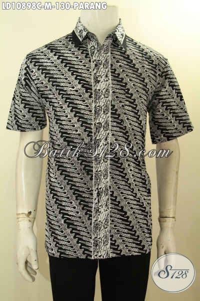 Batik Hem Elegan Motif Parang Klasik Lengan Pendek Bahan Adem Proses Cap Harga Murmer, Cocok Untuk Acara Formal Tampil Menawan, Size M