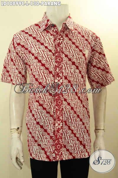 Pusat Baju Batik Solo Online, Sedia Kemeja Lengan Pendek Warna Merah Motif Parang Proses Cap, Tampil Gaya Hanya Dengan 130K, Size L