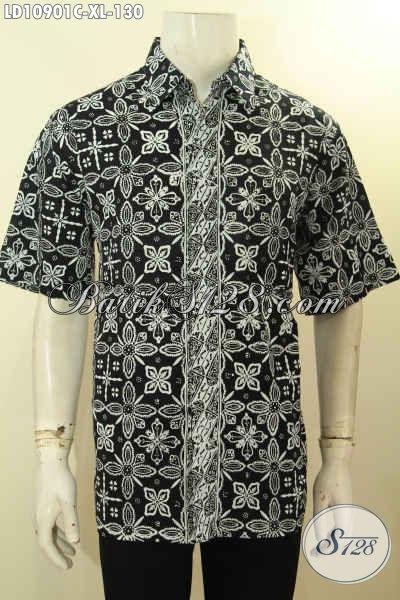 Batik Kemeja Solo Lengan Pendek Size XL, Pakaian Batik Modis Bahan Adem Proses Cap Motif Terkini, Bikin Pria Terlihat Macho Dan Keren