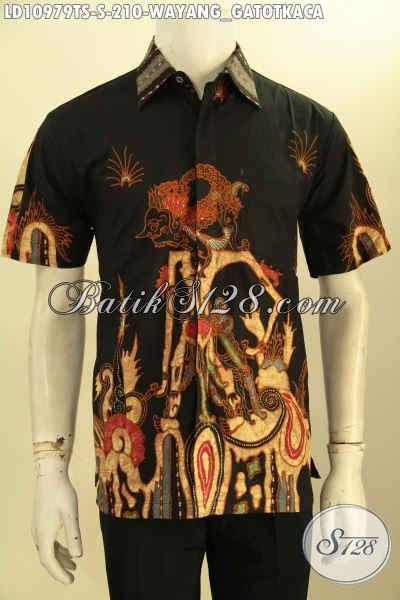 Baju Kemeja Batik Lengan Pendek Motif Wayang Gatotkaca Proses Tulis Soga, Busana Batik Pria Muda Untuk Tampil Gagah Dan Bergaya