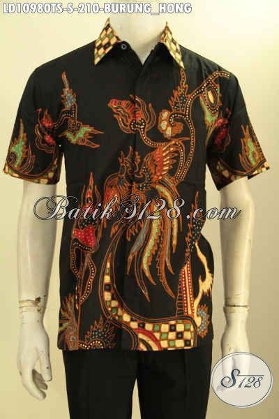 Baju Batik Tulis Soga Motif Burung Hong, Kemeja Batik Solo Lengan Pendek Nan Berkelas Kwalitas  Istimewa, Cocok Untuk Seragam Kerja Dan Hangout