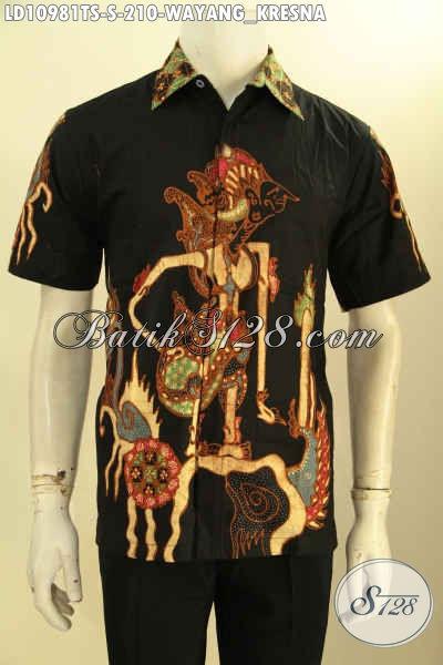Batik Kemeja Keren Lengan Pendek Motif Wayang Kresna, Busana Batik Solo Halus Proses Tulis Soga Yang Bikin Pria Terlihat Macho Dan Tamvan