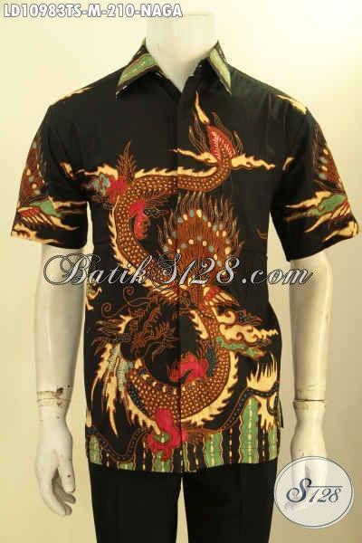 Produk Busana Batik Pria Muda Lengan Pendek Motif Naga, Kemeja Batik Modis Non Furing Proses Tulis Soga Bahan Adem, Pas Buat Hangout