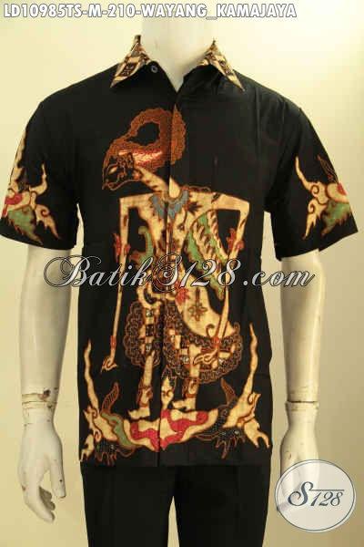 Baju Hem Lengan Pendek Bahan Batik Tulis Soga, Kemeja Batik Istimewa Full Furing Motif Wayang Kamajaya, Bisa Untuk Santai Dan Resmi