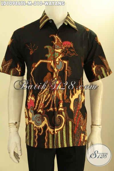 Jual Kemeja Batik Jawa Tengah Istimewa Size M, Pakaian Batik Modis Spesial Buat Kawula Muda Model Lengan Pendek Motif Wayang Proses Tulis Soga Harga 200 Ribuan