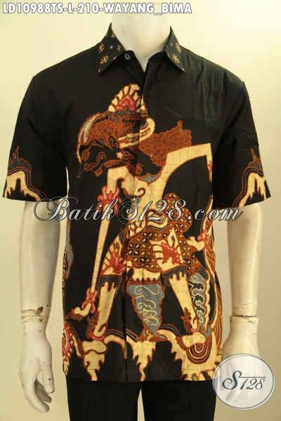 Produk Kemeja Batik Modis Keren Proses Tulis Motif Wayang Bima, Baju Batik Solo Lengan Pendek Desain Kekinian Penampilan Terlihat Gagah Dan Tampan