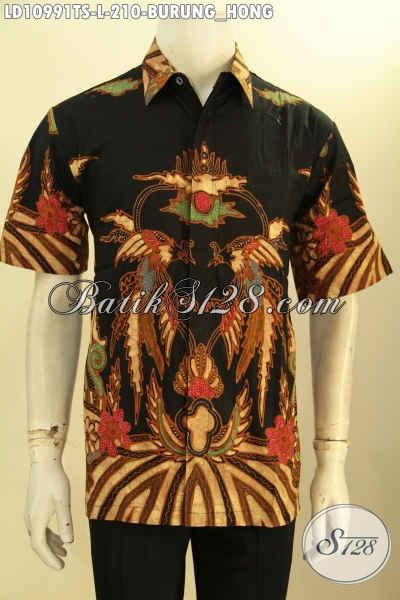 Baju Batik Solo Lengan Pendek Motif Burung Hong, Busana Batik Halus Proses Tulis Soga, Cocok Juga Untuk Kondangan