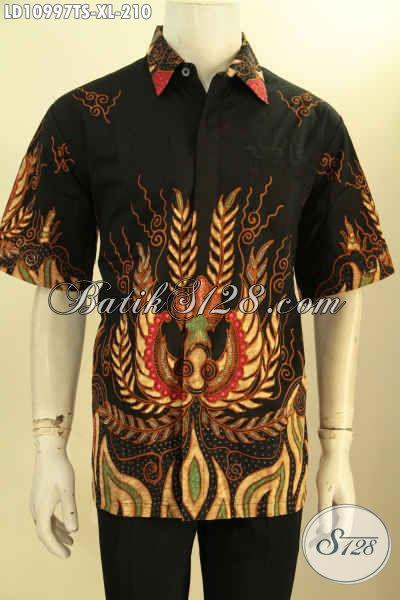 Jual Online Batik Kemeja Solo Terbaru, Produk Pakaian Batik Pria Lengan Pendek Halus Motif Trendy Kekinian Proses Tulis Soga, Pas Buat Seragam Kerja