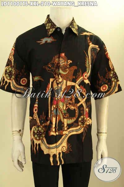 Batik Kemeja Solo Motif Wayang Kresna, Busana Batik Halus Model Lengan Pendek Proses Tulis Soga, Spesial Untuk Lelaki Gemuk Tampil Gaya
