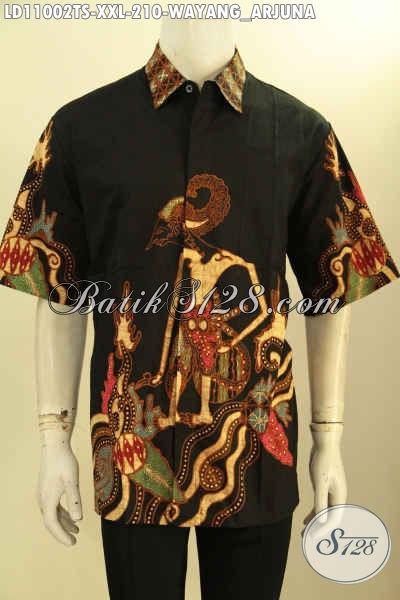 Jual Baju Batik Solo Trendy Motif Wayang Kresna, Kemeja Batik Modern Bahan Adem Proses Tulis Soga Kwalitas Istimewa, Spesial Untuk Lelaki Gemuk