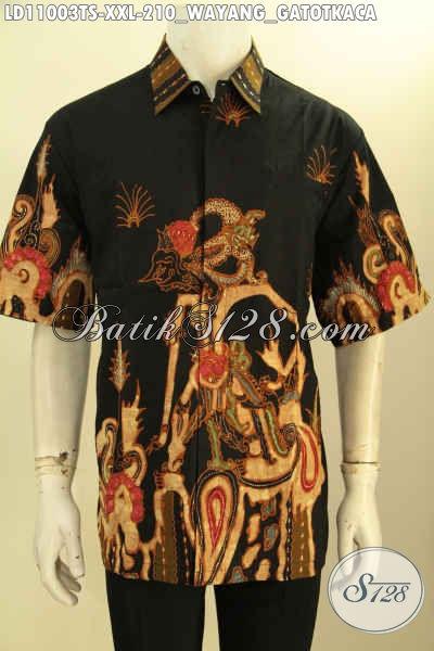 Baju Batik Solo Lengan Pendek Keren Motif Wayang Gatotkaca, Kemeja Batik Solo Terbaru Proses Tulis Soga Bahan Adem, Bikin Penampilan Mempesona