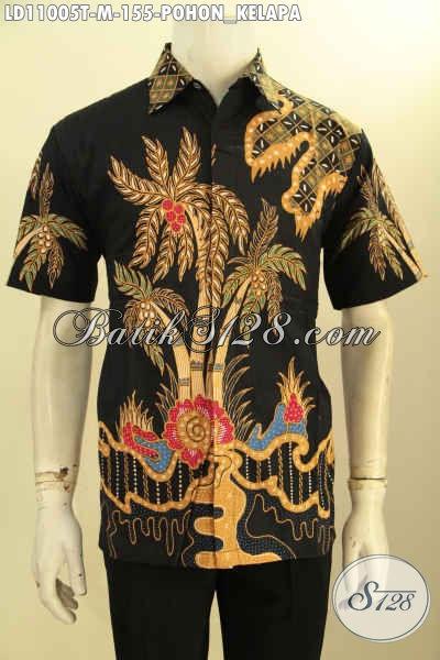 Busana Batik Tulis Halus Motif Pohon Kelapa, Kemeja Batik Solo Trendy Model Lengan Pendek Hanya 155K, Tampil Gagah Dan Tampan