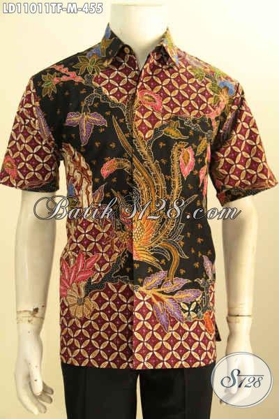 Kemeja Batik Tulis Lengan Pendek Mewah Halus, Baju Batik Kerja Pria Muda Full Furing Bahan Adem Nyaman Di Pakai