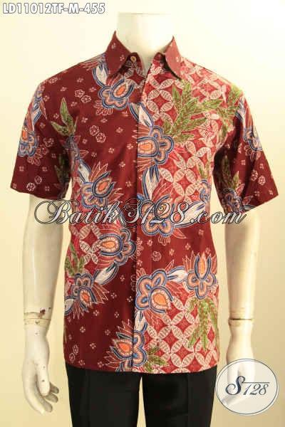 Model Baju Batik Solo Lengan Pendek Berkelas, Busana Batik Pria Untuk Kerja Dan Kondangan Motif Bagus Proses Tulis, Tampil Makin Tampan [LD11012TF-M]