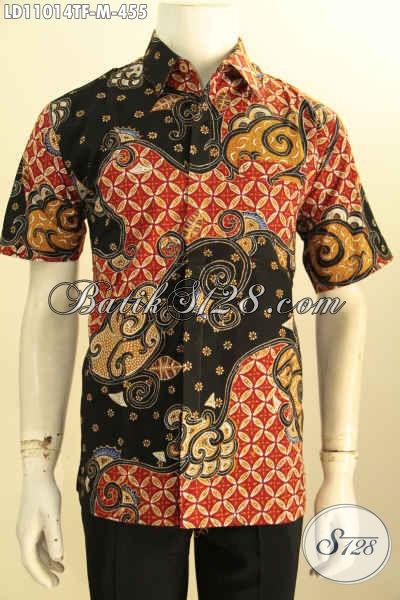 Baju Kemeja Batik Solo Halus Seragam Kerja Size M, Busana Batik Pria Muda Tulis Asli Model Lenga Pendek Full Furing, Penampilan Gagah Dan Tampan