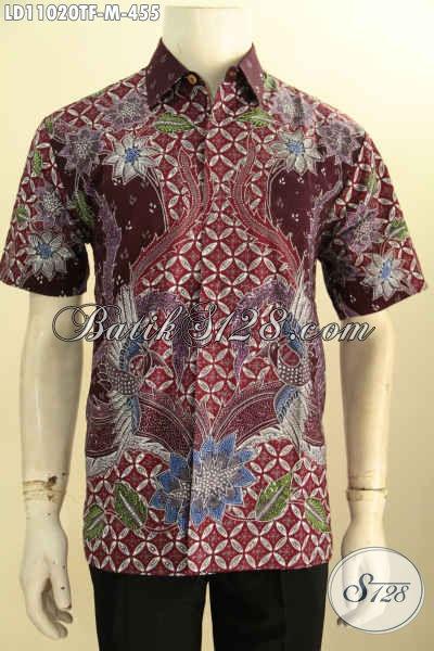 Kemeja Batik Tulis Untuk Kerja, Baju Batik Hem Untuk Acara Resmi, Busana Batik Solo Full Furing Buat Kondangan Model Lengan Pendek, Tampil Tampan Maksimal