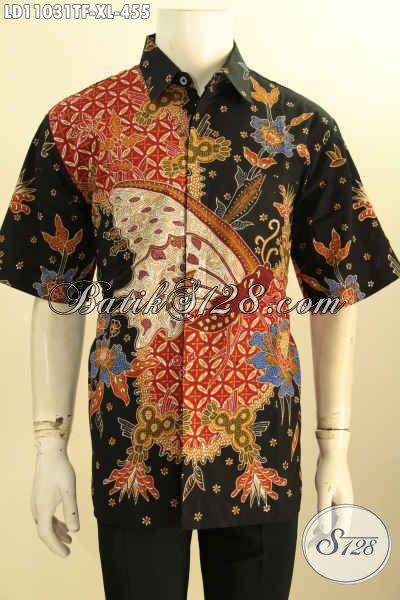 Baju Kemeja Batik Size XL Model Lengan Pendek, Pakaian Batik Istimewa Full Furing Bahan Adem Proses Tulis Motif Bagus, Menunjang Penampilan Pria Lebih Sempurna